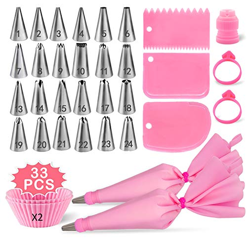 Piping Bags and Tips Set,DAFONSO Cake Decorating Supplies Kit with 24 Icing Tips,3 Icing Smoother,2 Reusable Pastry Bags & 2 Silicone Baking Cups,Suitable for beginners to make DIY Cakes and Cupcakes