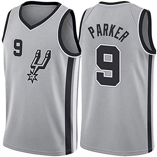 MAOMAOQUEENss Tony Parker # 9 Basketballtrikots, Herren San Antonio Spurs Swingman Edition Stickerei Mesh Trikots Sportweste Top Ärmelloses T-Shirt, wiederholt gewaschen, atmungsaktiv,Grey-L