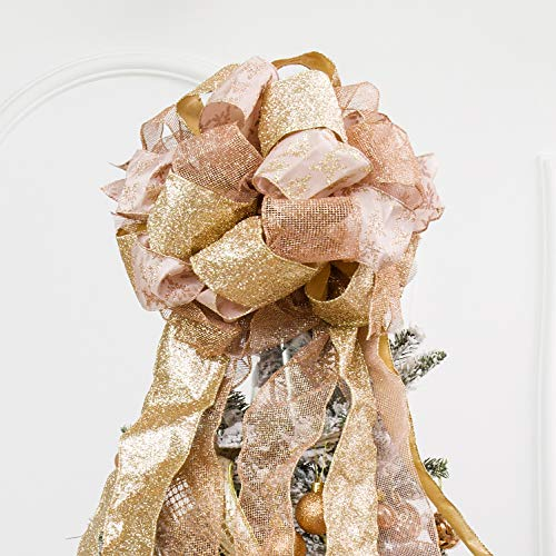 Christmas Tree Topper,Christmas Ornament with Glitter Satin Mesh Streamer,for Your Christmas Decor & Gift(Rose-Gold)