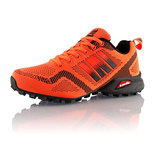 Fusskleidung® Damen Herren Laufschuhe atmungsaktive Runners leichte Trekkingschuhe Orange Orange Schwarz EU 41