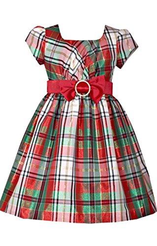 Bonnie Jean vestido de Natal de manga curta com xadrez vermelho e branco e laço na cintura, Multicor, 2T