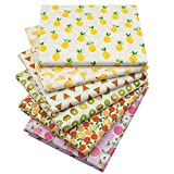Printed Fruits Cotton Fat Quarters Fabric Bundles,Quilting Fabric for DIY Sewing Crafts,18' x 22'(Multi)