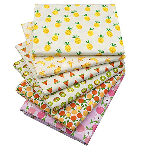 """Printed Fruits Cotton Fat Quarters Fabric Bundles,Quilting Fabric for DIY Sewing Crafts,18"""" x 22""""(Multi)"""