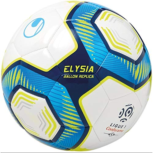 petit un compact Uhlsport Elysia BALL REPLICA LIGUE 1 CONFORAMA Unisexe, Blanc / Bleu Métallisé / Jaune Fluo, 5