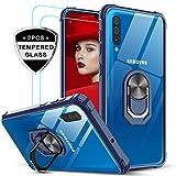 LeYi Funda Samsung Galaxy A50 con [2-Unidades] Cristal Vidrio Templado,Transparente Carcasa con 360 Grados iman Soporte Silicona Bumper Antigolpes Armor Case para Movil A50,Clear Azul