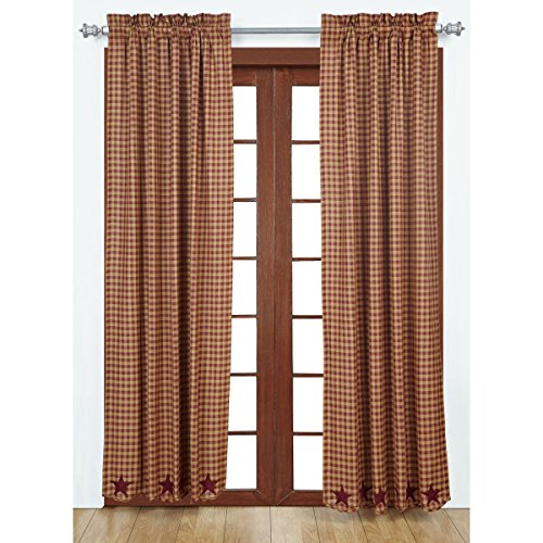 VHC Brands Classic Country Primitive Window Star Red Scalloped Curtain Panel Pair, Burgundy