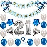 Juego de decoración de 21 cumpleaños azul plateado, decoración de cumpleaños, decoración de fiesta de cumpleaños, pancarta de feliz cumpleaños, decoración de globos de números plateados de 21 años
