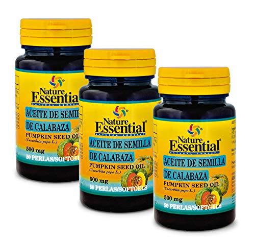 NATURE ESSENTIAL | Aceite de Semilla de Calabaza | 500 mg | Bueno para Pelo y Piel | Remedio Natural para Ayudar con la Diabetes, Corazón, Hígado y Sistema Inmunológico | 50 Perlas (Pack 3 uni