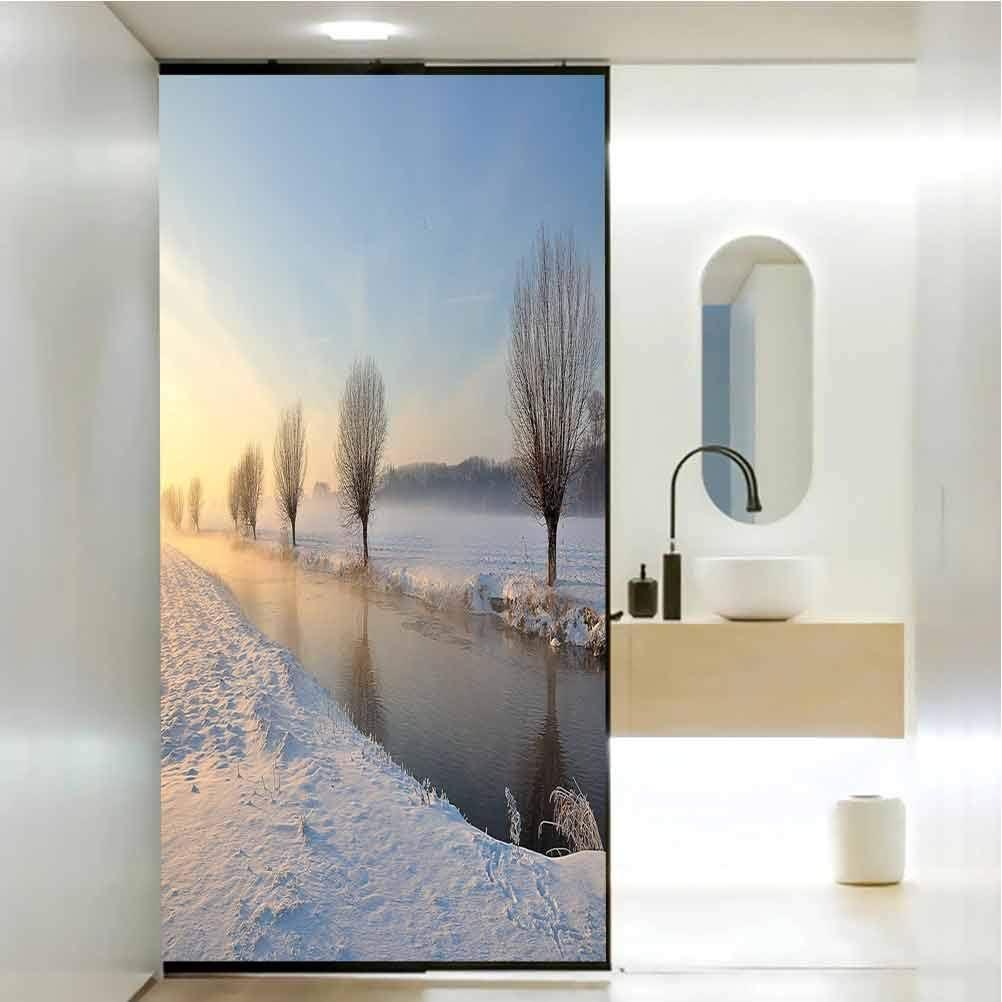 Pegatina de cristal anti-UV para ventana, paisaje de río nevado, árboles áridos y helados, cuarto de baño, oficina, sala de reuniones, sala de estar, ventana, 35.4 x 78.7 pulgadas