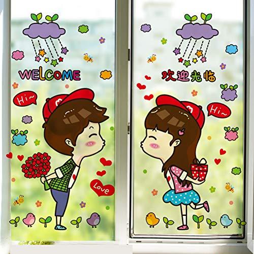 PISKLIU Muurstickers Muurfiguren Cartoon Liefhebbers Muursticker DIY Schat Muurtattoo voor winkel markt Valentijnsdag Decoratie