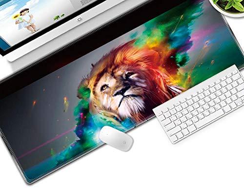 HJKGSX Gaming Mauspad 800x300x3 mm Mikrofaser Verbessert Geschwindigkeit und Präzision, Schreibtischunterlage Abwischbar Anti Rutsch Matte Multifunktionales Office Mousepad - Farbe Löwe