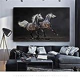 RELIABLI ART Arte de la pared Caballo Pareja Imágenes de animales Carteles e impresiones Lienzo Pintura Cuadros decorativos modernos para sala de estar A 40x65cm