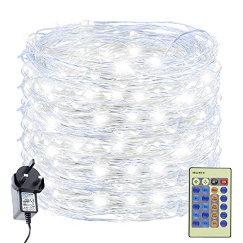 Decuteuk 300 LED Fairy Lights 30m Silver Wire String Lights w/Remote, LED Firefly Lights Starry Light for DIY Christmas Tree Costume Wedding Party Table Centerpiece Decor (Cool White)