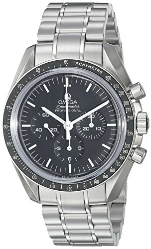 Omega Men's 31130423001005 Speedmaster Analog Display Mechanical Hand Wind Silver with Black Dial Watch