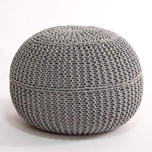 XIAOWEI Knitted stool footstool round braided stool made of 100% cotton for living room bedroom garden indoor beanbag with gray filling 50x50x40cm