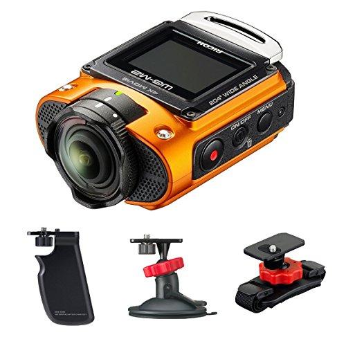 Pack Action Cam Ricoh WG-M2 Orange + Poignée + Fixation Ventouse + Fixation Casque