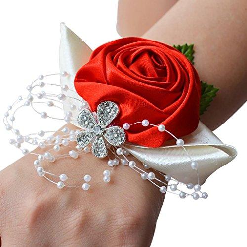 Sukisuki da sposa polso corpetto fiori nastro strass wedding Supplies, Red, taglia unica
