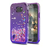 S6 Active Case Galaxy S6 Active Case with HD Screen Protector,KaiMai Glitter Moving Quicksand Clear Cute Shiny Girls Women Phone Case for Samsung Galaxy S6 Active-Pueple/Blue