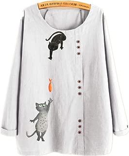 TT WARE Button Cartoon Cat Print O-Neck Casual Blouse Shirts-White-8
