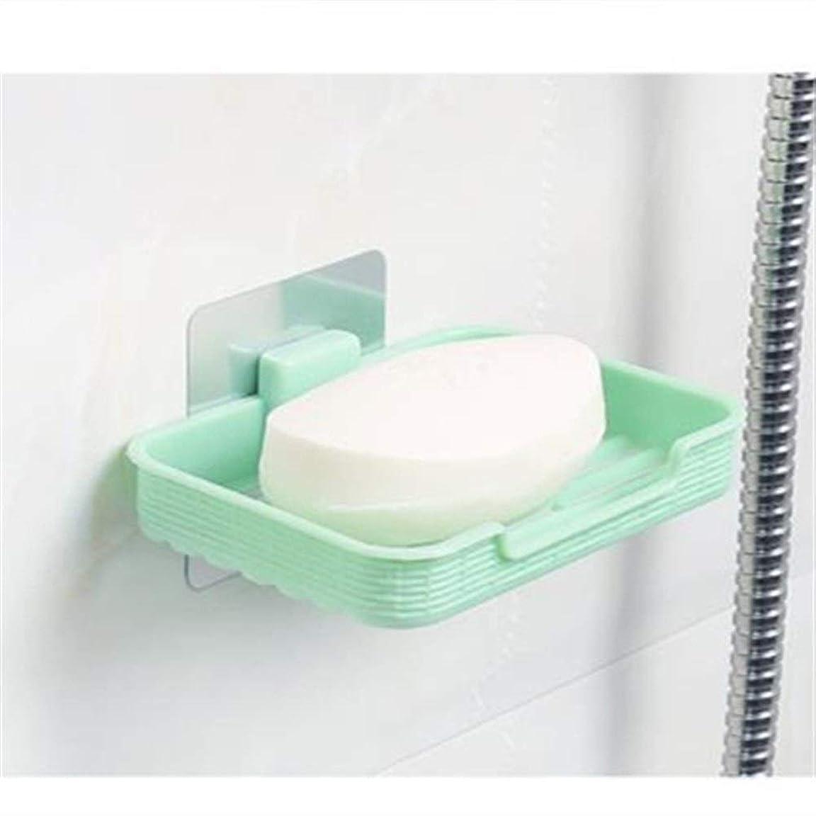 ひもコミュニケーション弁護士サクションウォールソープボックスソープボックスクリエイティブ中空浴室排水石鹸トレイランドリーソープボックスソープラックソープラック (Color : Green)