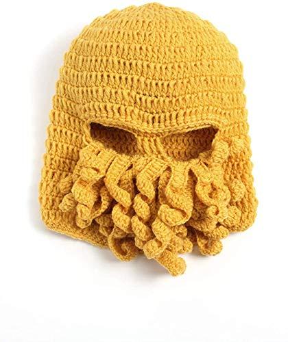 Uncle Lee Octopus Beanie Sombrero de Calamar Barba Sombrero de Punto Gorras para Hombres Invierno Clido Esqu Amarillob Taille Unique