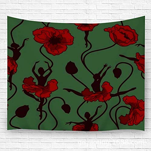 Tapestry Wall Hanging,Wall Decor Blanket Wall Carpet Stylized Dance Poppy Flowers and Ballerinas For Dorm Bedroom 51.2'(H) X59.1(W) 60x40in(100x150cm)