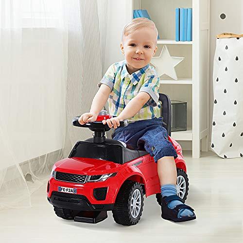 HOMCOM 3-in-1 Ride On Car Walker Foot To Floor Slider Stroller Toddler Push-Along w/ Horn Steering Wheel NO POWER Manual Under Seat Storage Safe Design Red