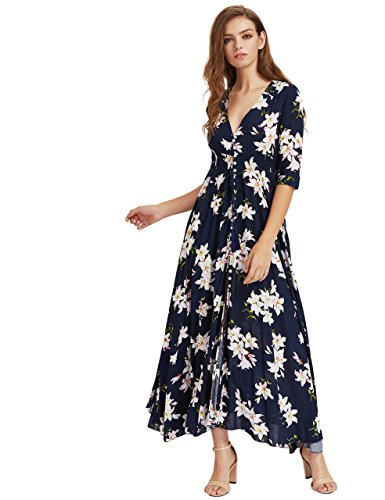 Milumia Women's Button Up Split Floral Print Flowy Party Maxi Dress Small Navy_Pink