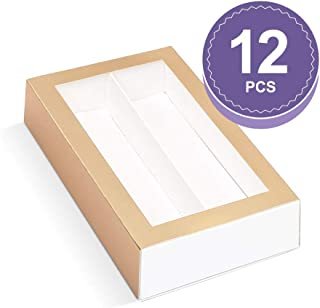 BAKIPACK Macaron Boxes (Interior Mesurement 7.25×4 ×1.8 Inches), Macaron Box for 12, Macaron Packaging Boxes with Clear Window, Matte Gold, 12 Pcs without Macarons inside