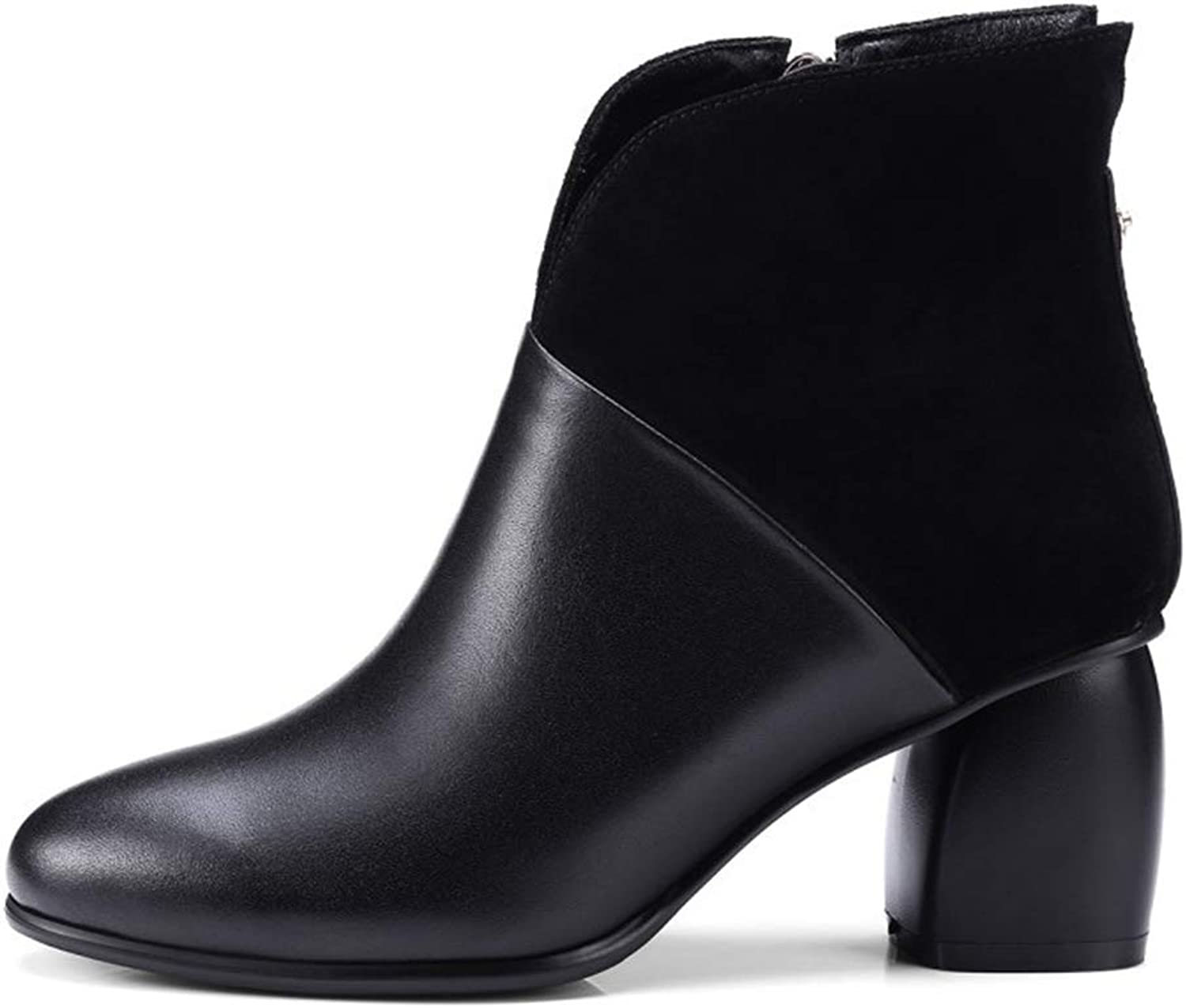 Women's Boots Autumn Winter Leather shoes Thick Heel Ladies' Boots Fashion Bare Boots Wedding Party & Evening Dress shoes (color   A, Size   35)