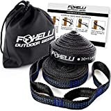 Foxelli Hammock Straps XL – Camping Hammock Tree Straps Set (2 Straps & Carrying Bag), 20 ft Long Combined, 40+2 Loops, 2000 LBS No-Stretch Heavy Duty Straps for Hammock, Compact & Easy to Set Up