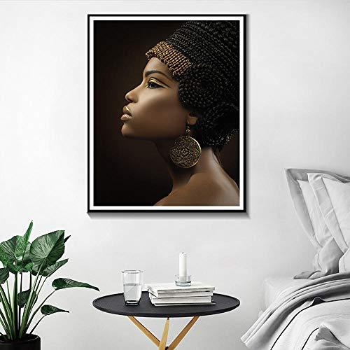 Afrikaanse vrouwen olieverfschilderij canvas art print zwart meisje met gouden oorbellen canvas kunst foto schoonheid wanddecoratie-frameloze 40x50cm