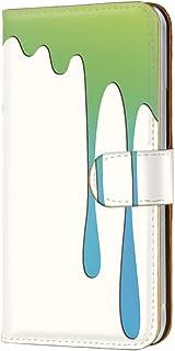 スマホケース 手帳型 カードタイプ Galaxy S5 SC-04F・SCL23 対応 [ペイント柄・ウォーターグリーン] 落書き グラデーション SAMSUNG サムスン ギャラクシー エスファイブ docomo au スマホカバー 携帯ケー...