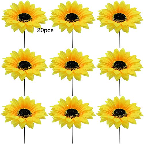 DXLing 20 Piezas Cabeza Girasoles Artificiales Amarillas Diámetro 9cm Girasoles Decoracion Flores de Seda Plastico Girasol Artificial con Poste de Flores para Boda Mesa Fiesta DIY