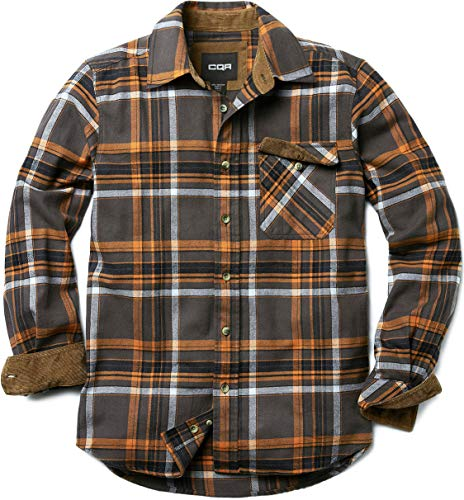CQR Men's All Cotton Flannel Shirt, Long Sleeve Casual Button Up Plaid Shirt, Brushed Soft Outdoor Shirts, Corduroy Lined(hof110) - Grey Dakota, Large