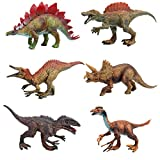 FLORMOON Dinosaur Toy - 6pcs PlasticRealistic Dinosaur Figures Include Stegosaur, Suchomimus, Tyrannosaurus Rex, Spinosaurus, Triceratops, Therizinosaurus - Birthday Cake Decor for Kids(Retro A)