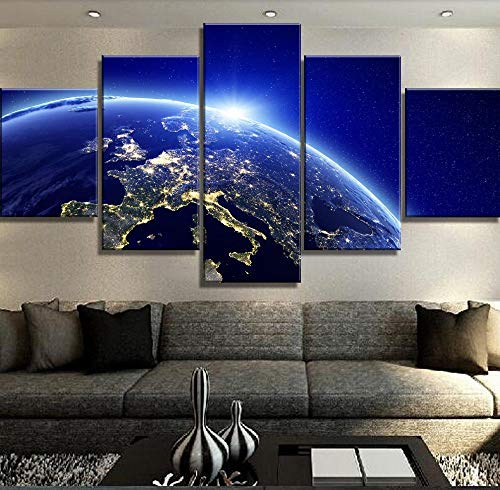 5 Piezas De Arte Azulejos De Pared Espacio Exterior Tierra Foto Moderna Accesorios De Sala De Estar Bta-15