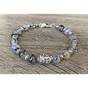 Dragon Veins Agate Silver Buddha Gemstone Bracelet