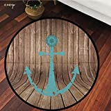 №16464 Round Area Rug Floor Kitchen Carpet, Nautical Decor with Compass On Rustic Wooden Planks Marine Maritime Sea Ocean Coastal Antiqued Aged Decor, for Home Decor