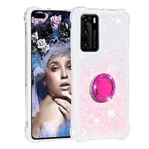 KRjcsfhy Funda para iPhone 13 con soporte para anillo, purpurina líquida, de lujo, transparente, a prueba de golpes, protección completa de diamante, arena movediza, para niñas y mujeres, color rosa