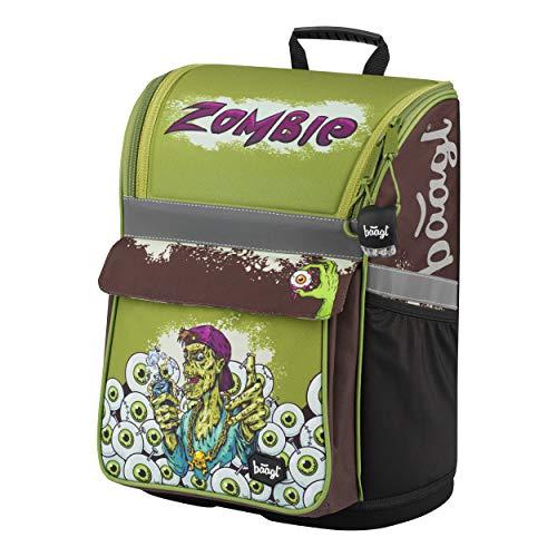 Baagl Schulranzen Jungen 1. Klasse - Ergonomische Schultasche für Kinder - Schulrucksack mit Brustgurt - Grundschule Ranzen (Zombie)