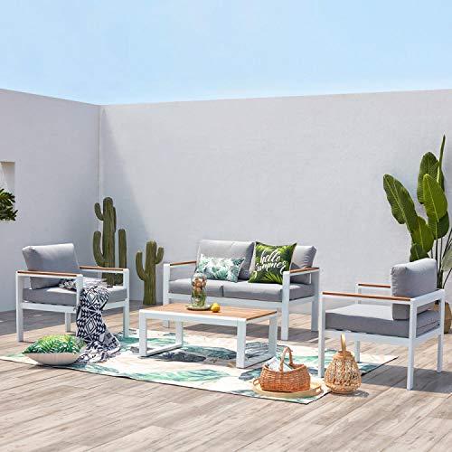 JFB Le CYR - Salón de jardín bajo blanco aluminio 4 plazas