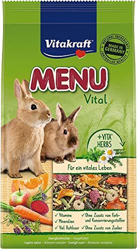 Menu Vital – Conigli Alimento per Conigli Nani con carote, foraggio e cereali 1 kg con 20% di prodotto gratis in più