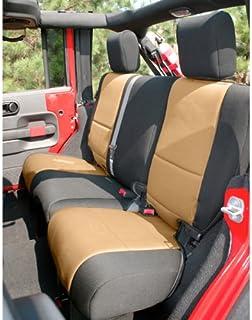 Rugged Ridge 13265.04 Seat Cover, Rear, Neoprene, Black/Tan; 07-18 Jeep Wrangler JK