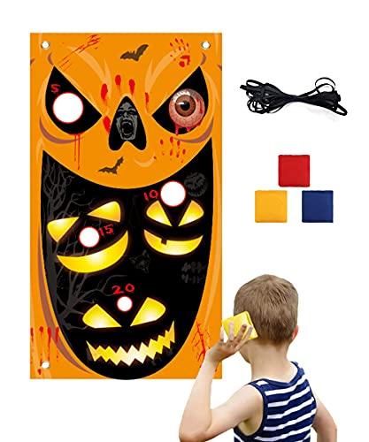 Ellaucci - Striscione per Halloween con 3 fagioli, per Halloween, per interni, esterni, per feste, famiglia, bambini, adulti (arancione)