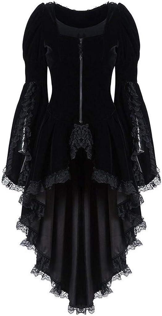 Women Waist Back Bandage Lace Stitching Overcoat Plus Size Gothic Long Sleeve Vintage Jacket Irregular Tailcoat