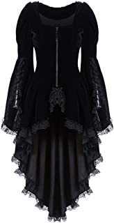 Womens Classic Black Layered Lace-up Cotton Lolita Dress, LIM&Shop Renaissance Corset Dress Gothic Halloween Cosplay