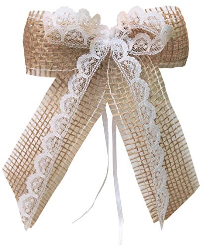 unser schönster Tag Antennenschleifen Autoschleife Autoschmuck Hochzeit SCH0146 Vintage Shabby Spitze Landhaus (25 Stück)