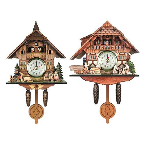 Non-brand 2X Reloj de Cuco de Estilo Antiguo Reloj de Pared Artesanía de Madera para Decoración de Pared del Hogar