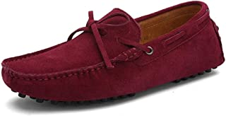 Best-choise Driving Loafers for Men Suede Boat Moccasins with Lace up Tie Deck Shoes Slip on Genuine Leather Anti Slip Stu...